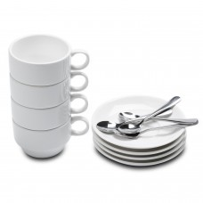 Aozita Espresso Cups with Espresso Spoons and Saucers, 12-piece 2.5-Ounce Demitasse Cups